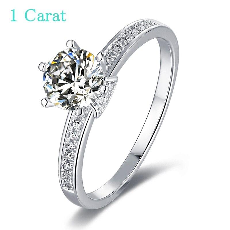 Moissanite 1ct anel redondo d coroa clássico feminino casamento prata esterlina 925 anel festa de noivado aniversário anel vvs1