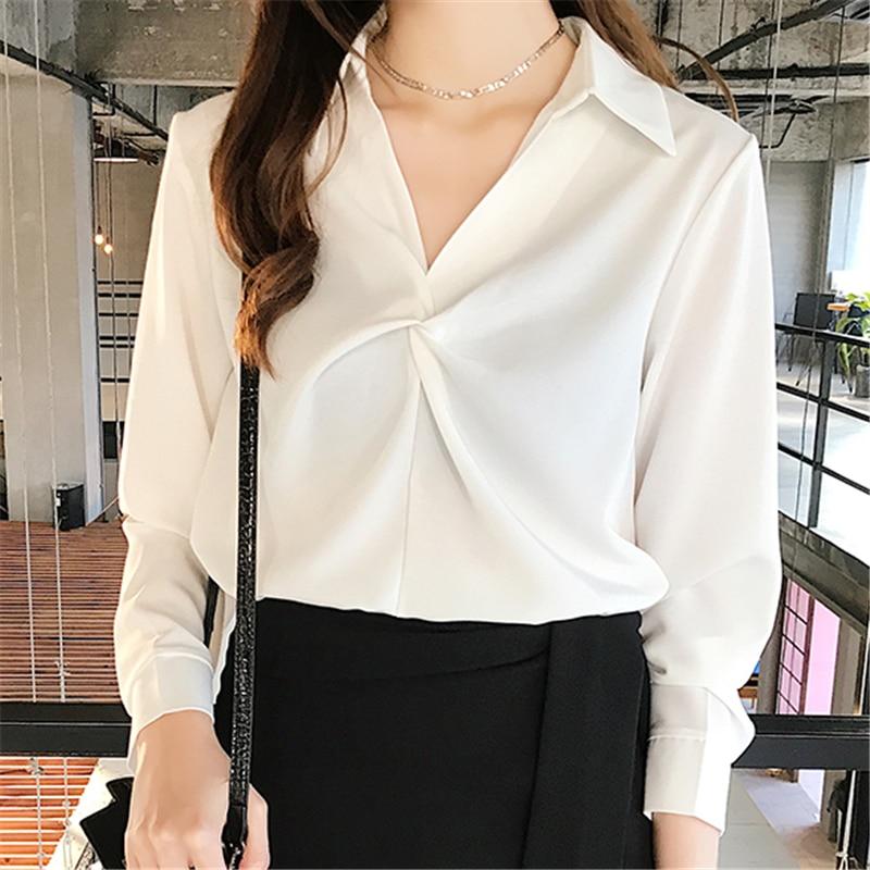Women Blouses Korean V neck Chiffon Shirt Plus Size Elegant Women Shirt Tops Women Blusas Mujer De Moda 2019 Women Shirts Blouse in Blouses amp Shirts from Women 39 s Clothing