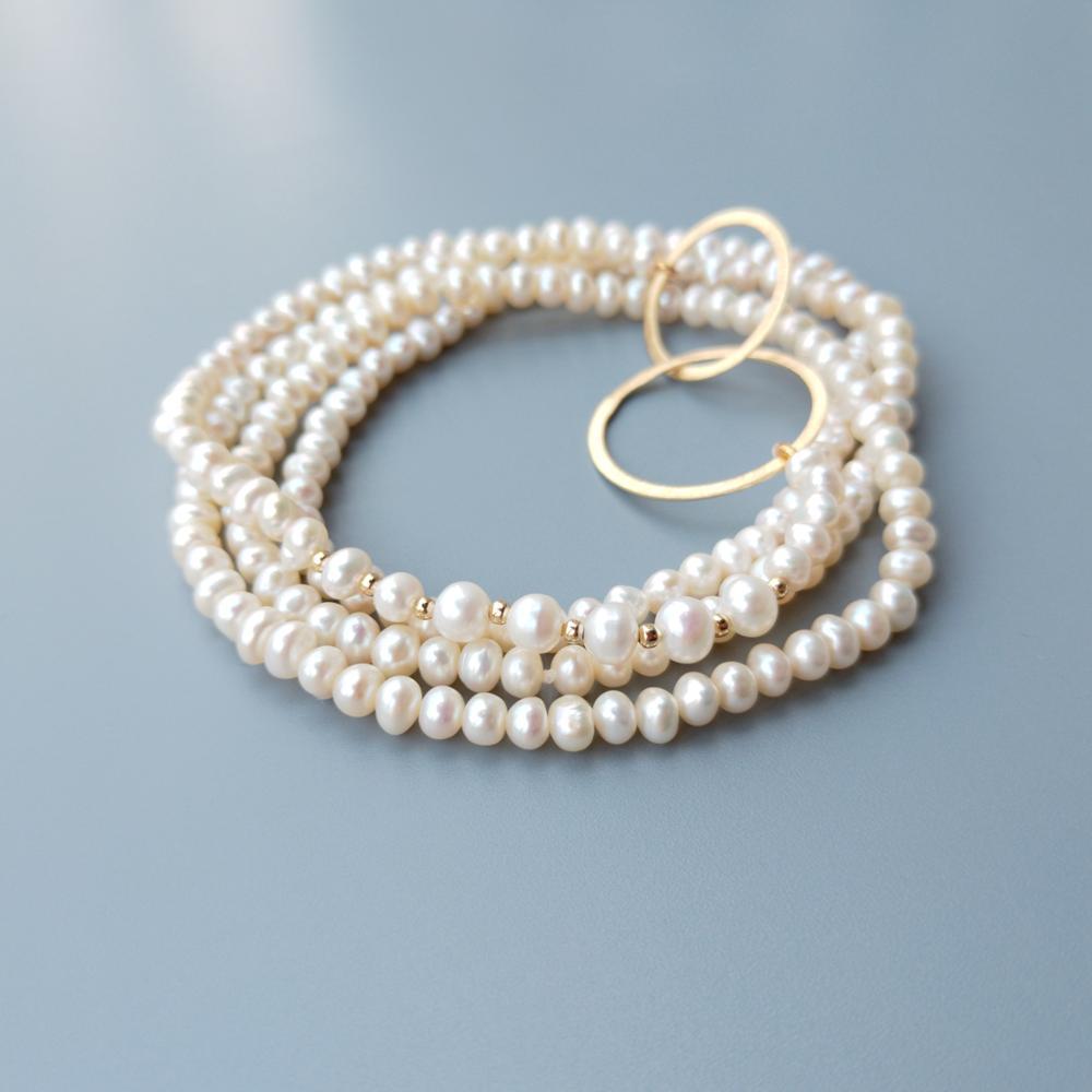 LiiJi Unique 4-5mm perle d'eau douce 925 argent Sterling or couleur cercles Long collier délicat collier 32 pouces/81 cm