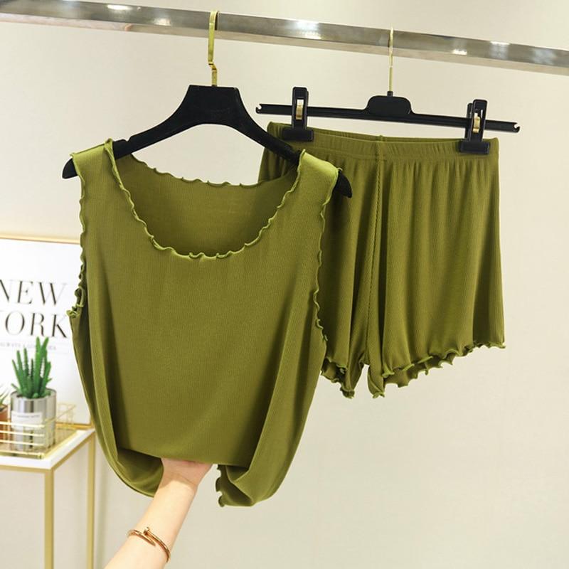Pajamas For Women Sleepwear Tops Shorts Set Summer Night Wear Sweet Sleepwear Pajama Sets Casual Solid Color Homewear