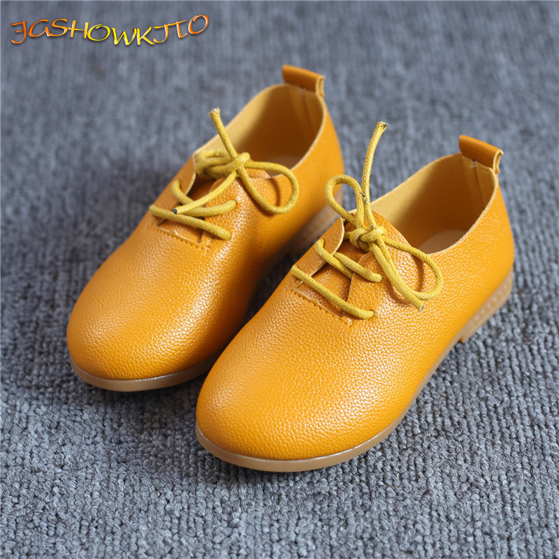 JGSHOWKITO 2020 Classic Soft Girls Shoes Soft PU Leather Casual Flats For Toddlers Big Kids Lace-up Children Sneakers All-match