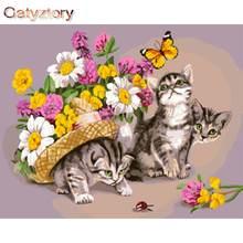 Gatyztory Раскрашивание по номерам кошка и бабочка для взрослых