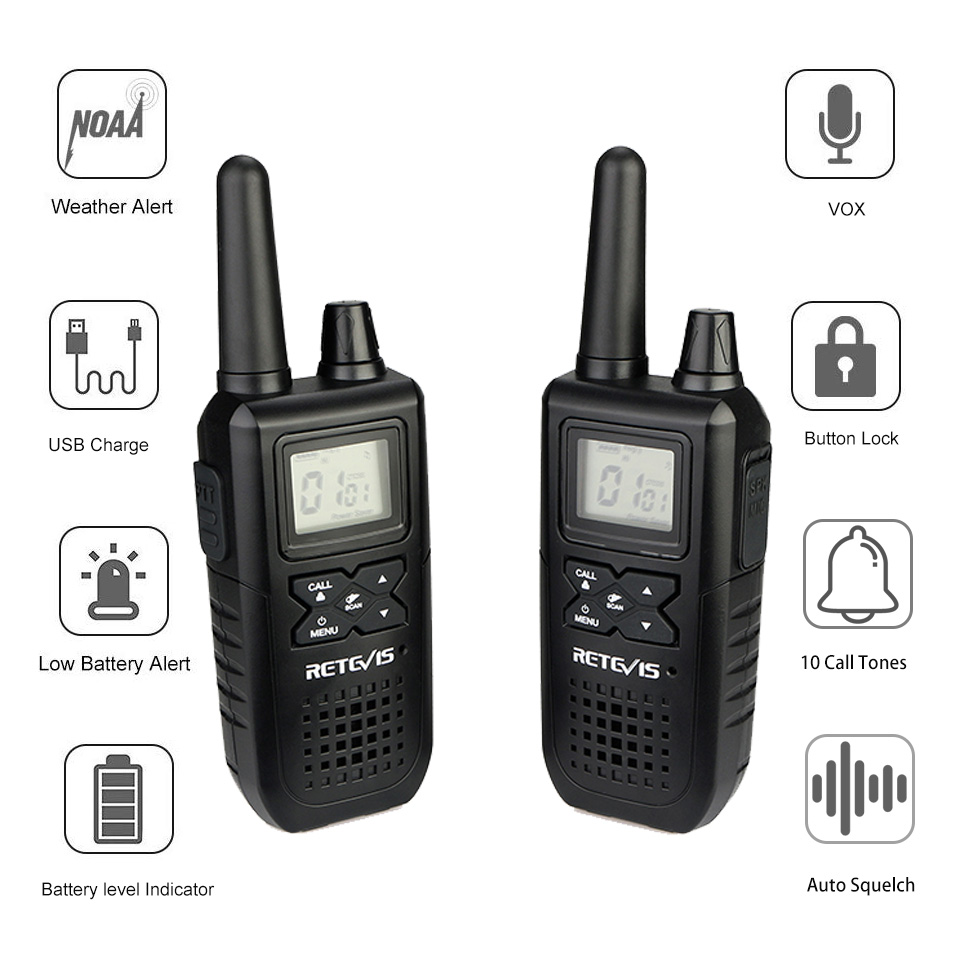Image 4 - 2pcs RETEVIS RT41 Two way Radio VOX License free FRS Portable Mini Walkie talkie NOAA Weather Alert USB Charging Walkie Talkie-in Walkie Talkie from Cellphones & Telecommunications