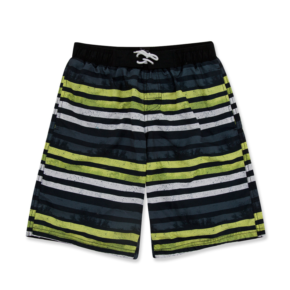Micro For Europe And America Summer BOY'S Beach Pants 2019 New Style Big Boy Swimming Trunks Stripes Lace-up Boy Bathing Suit
