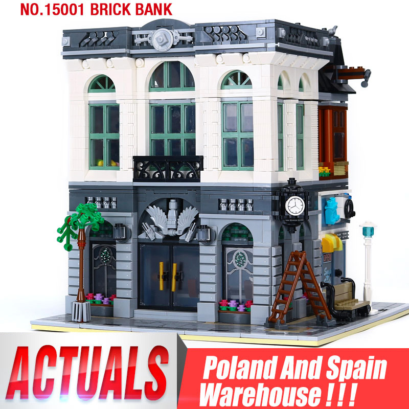 DHL 15001 City Building Toy Compatible 10251 Brick Bank Set Building Bricks Block Street View Set Kids Christmas Gifts