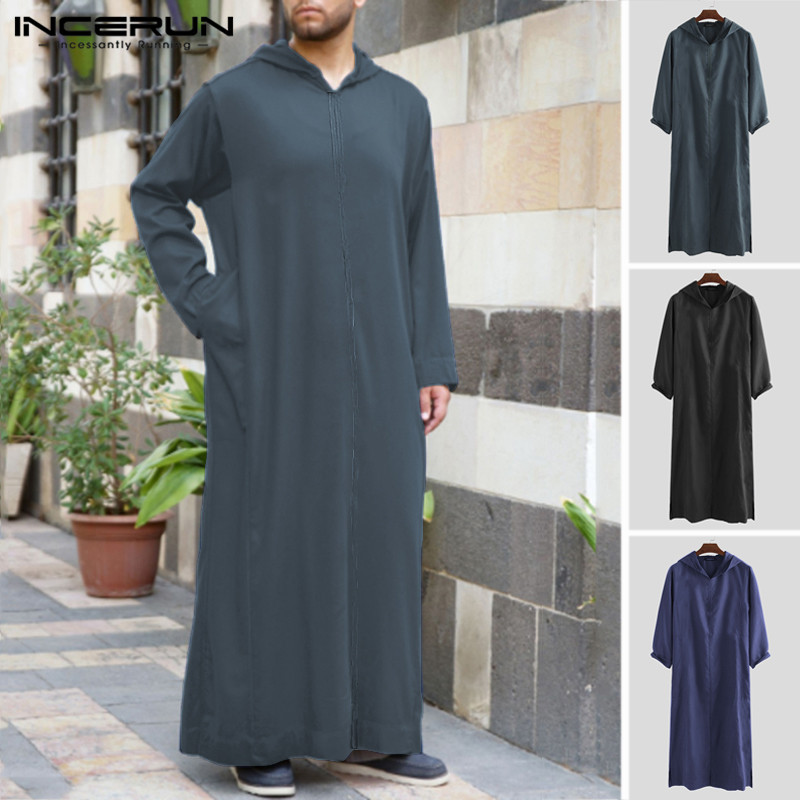 INCERUN Men's Autumn Pure Color Long Sleeve Hooded Pullovers Loose Robe Casual Chic Muslim Style Streetwear Longline Tshirt