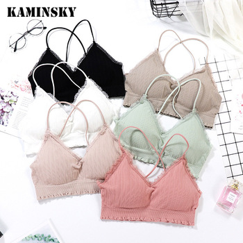 Kaminsky New Girls Wireless Soft Triangle Cup French Style Lace Seamless Women Lingerie Thin Bralette Deep V Bra Underwear image
