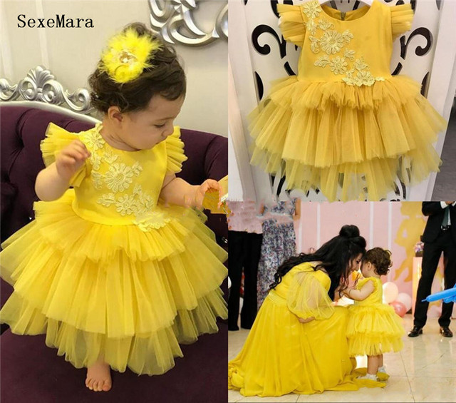 Ropa de bebé para niñas, vestido de fiesta de cumpleaños para niñas, vestido de encaje de tul amarillo, con volantes, 9M 12M 18 M-24 M