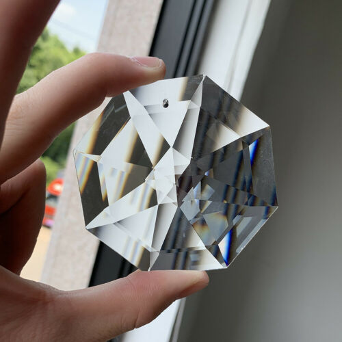 75MM Suncatcher Octagon Disc Faceted Glass Art Crystal Prism Chandelier 1Hole DIY Pendant Hanging Ornament Lamp Parts