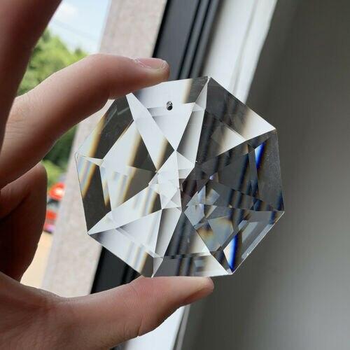 75MM Suncatcher Octagon Disc Faceted Glass Art Crystal Prism Chandelier 1Hole DIY Pendant Hanging Ornament Lamp Parts