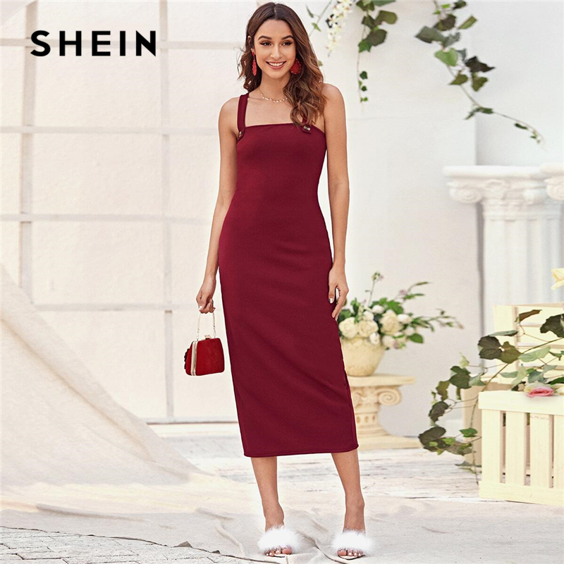 SHEIN Burgundy Split Detail Fitted Cami Dress Women Summer Solid Sleeveless Straps Fitted Elegant Long Dresses 1