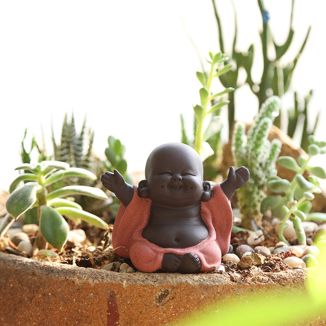 N Tea Favor Happy Maitreya Buddha Tea Pet Teahouse Ornaments Ceramic Home Decor Succulent Plants Decoration 4 style for choosing 2