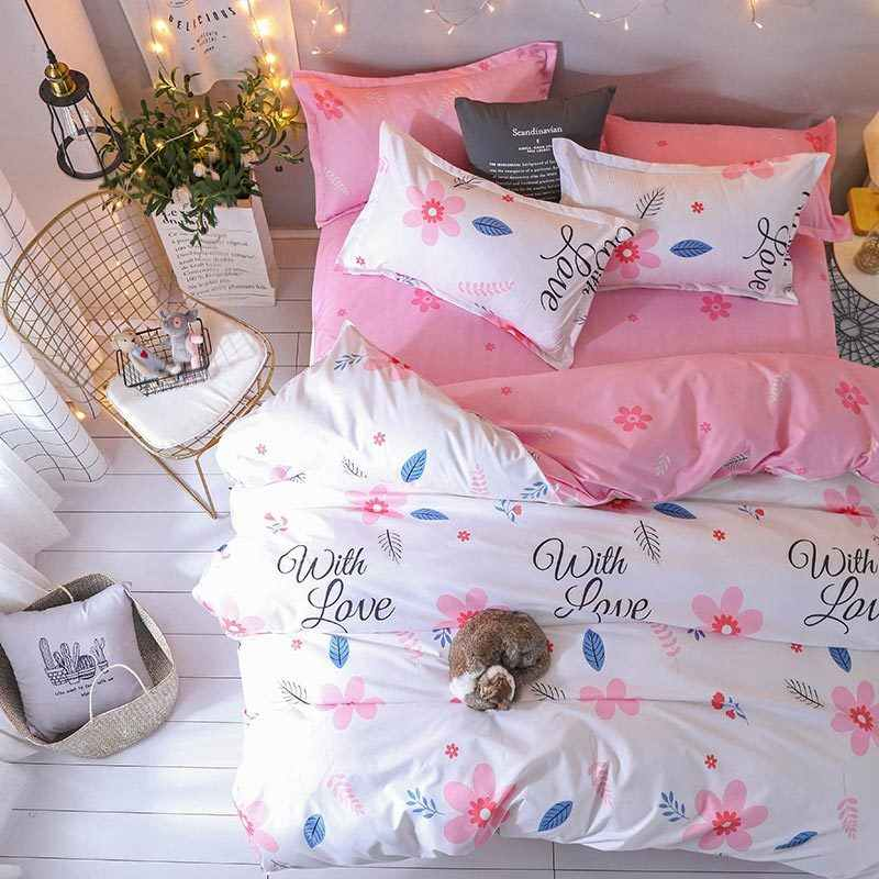 J Pink Flower 4pcs Girl Boy Kid Bed Cover Set Duvet Cover Adult Child Bed Sheets And Pillowcases Comforter Bedding Set 2TJ-61017