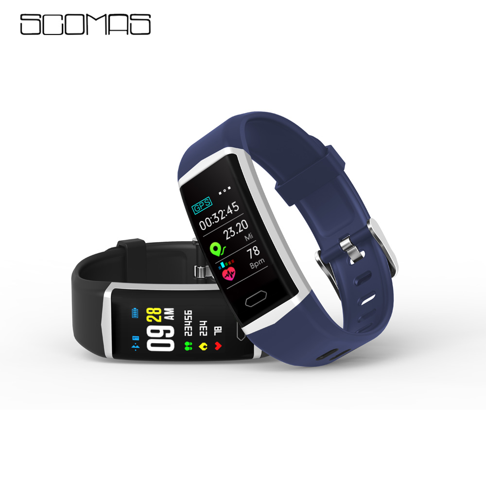 SCOMAS Smart B5 Bracelet Band With GPS Heart rate Monitor ECG Blood Pressure IP68 Fitness Tracker Wrisatband Smart Watch
