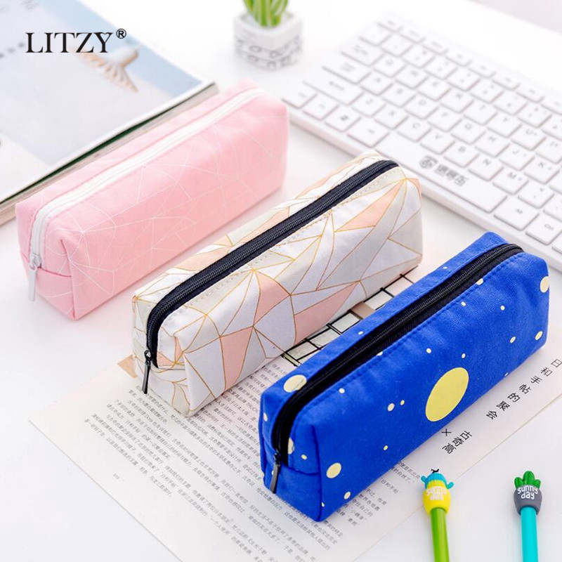 New School Pencil Case For Girls Boys Concise Solid Color Student Canvas Pencil Case Stationery Pencil Bag Box Estojo Escolar