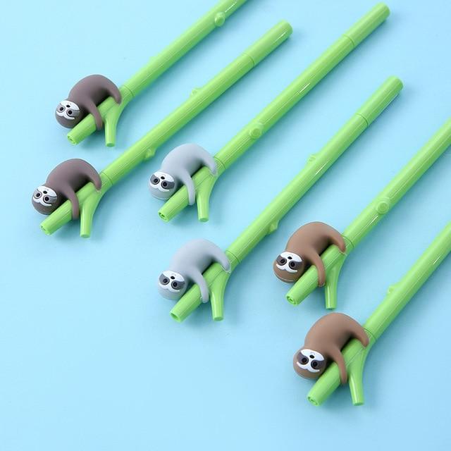 3pcs Cute Animal Green Tree Sloths Pen Ballpoint Black Color Ink roller ball Pens Writing Office Decoration School Student F977 3