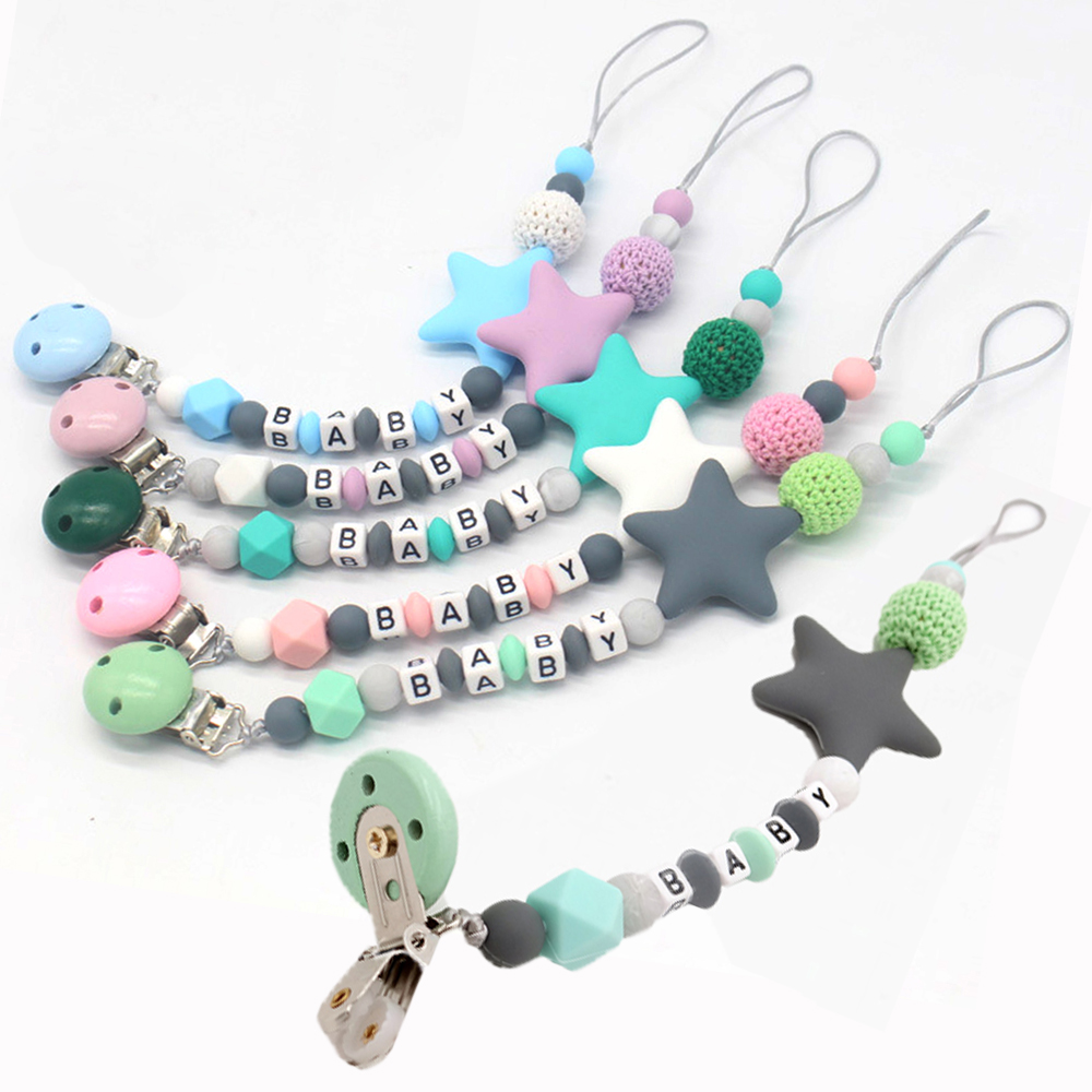 Colorful Baby Letter Pacifier Clips Funny  Silicone Star Chain For Infant Feeding Toddle Chew Toy Clips BPA Free Dummy Clips