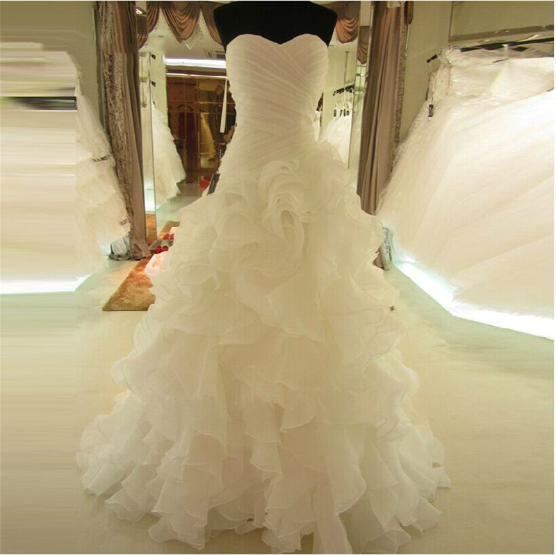 Vestido De Noiva 2020 White/Ivory Color Backless Sleeveless Ruffled Organza Wedding Dresses Sweetheart Puffy Bridal Dresses