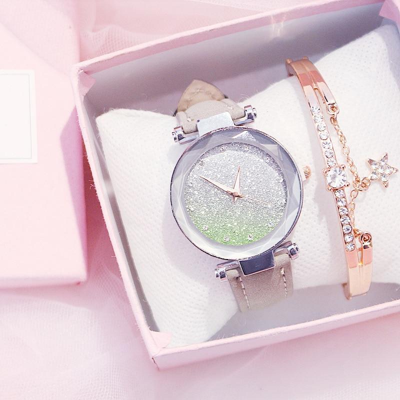 Fashion Bracelet For Girls Luminous Watch For Women Diamon Watches For Ladies Girls Twinkling Wristwatch Female Casual Clock