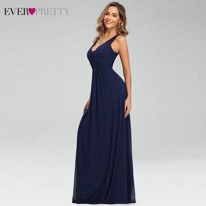 Image 3 - 우아한 해군 블루 이브닝 드레스 EP07599NB 더블 v 넥 민소매 Draped 레이스 공식 파티 가운 Abendkleider