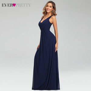 Image 3 - Elegant Navy Blue Evening Dresses Ever Pretty EP07599NB Double V Neck Sleeveless Draped Lace Formal Party Gowns Abendkleider