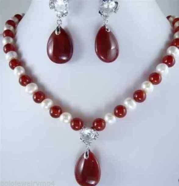 תכשיטי פרל סט מכירה לוהטת חדש סגנון>>>>> תכשיטים לבן פנינה & אדום ירקן קריסטל תליוני שרשרת עגיל להגדיר משלוח חינם