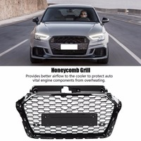 For RS3 Style Front Sport Hex Mesh Honeycomb Hood Grill Gloss Black for Audi A3/S3 8V 2017 2019 car accessories