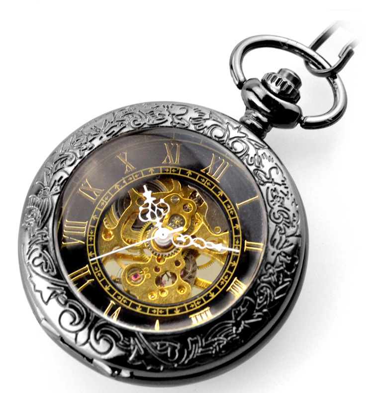 Luxury Pocket Watch Vintage Roman Numbers Watch Display Analog Mechanical Hand Wind Fob Watch For Men Women