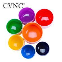 CVNC 7-14  Chakra Tuned Set of 7pcs CDEFGAB Colored Frosted Quartz Crystal Singing Bowl Chile