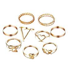 9Pcs/set Vintage Ring Set Unique Heart Bowknot Knuckle Finger Unisex Jewelry Accessories Gold Silver Color