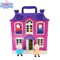 Peppa Pig Villa Sets George 4pcs Pig Family with Sound Doll House Action Figures Original Anime Figure Kids Toy for Children2P11