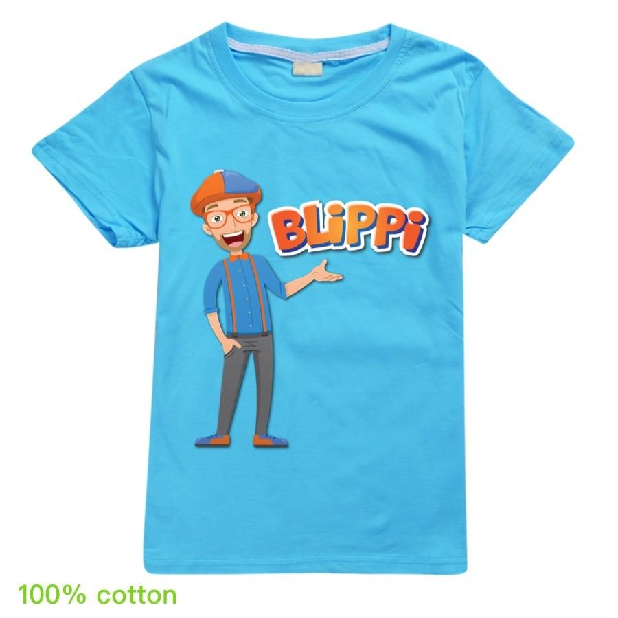 Toddler Girl Tops BLiPPi Children Cartoon T-shirt 2020 Boys Cotton T-Shirts Kids Fashion Summer Tops Tees for 2-14Y Teens Shirt 3