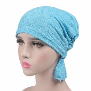 Image 4 - Женский модный тюрбан из 100% хлопка, мусульманские повязки на голову, аксессуары для повязки