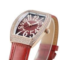 New Sun print female Watches White Gold Diamond Quartz Watch Woman Leather Bracelet Watch Waterproof Cask type Clock Waterproof