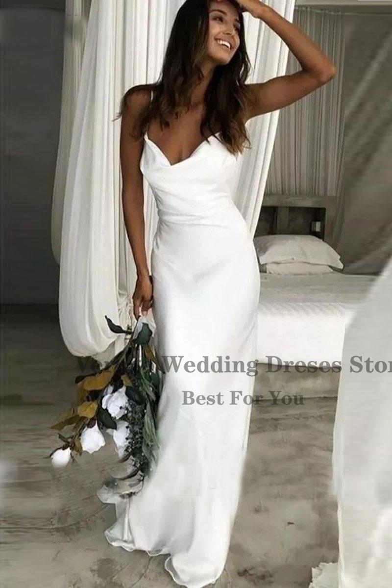 Verngo Beach Wedding Dress 18 Simple Soft Satin Bridal Gowns ...