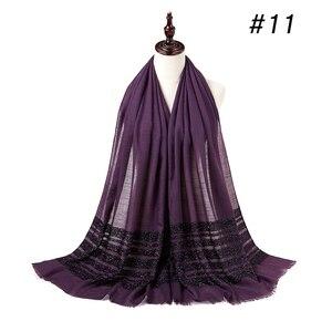 Image 3 - Cotton Khăn Hijab Chắc Chắn Viền Khăn Choàng Đồng Bằng Lắc Chân Nữ Maxi Lấp Lánh Hồi Giáo Dài Hồi Giáo Đầu Bọc Turbans Khăn Choàng/Khăn