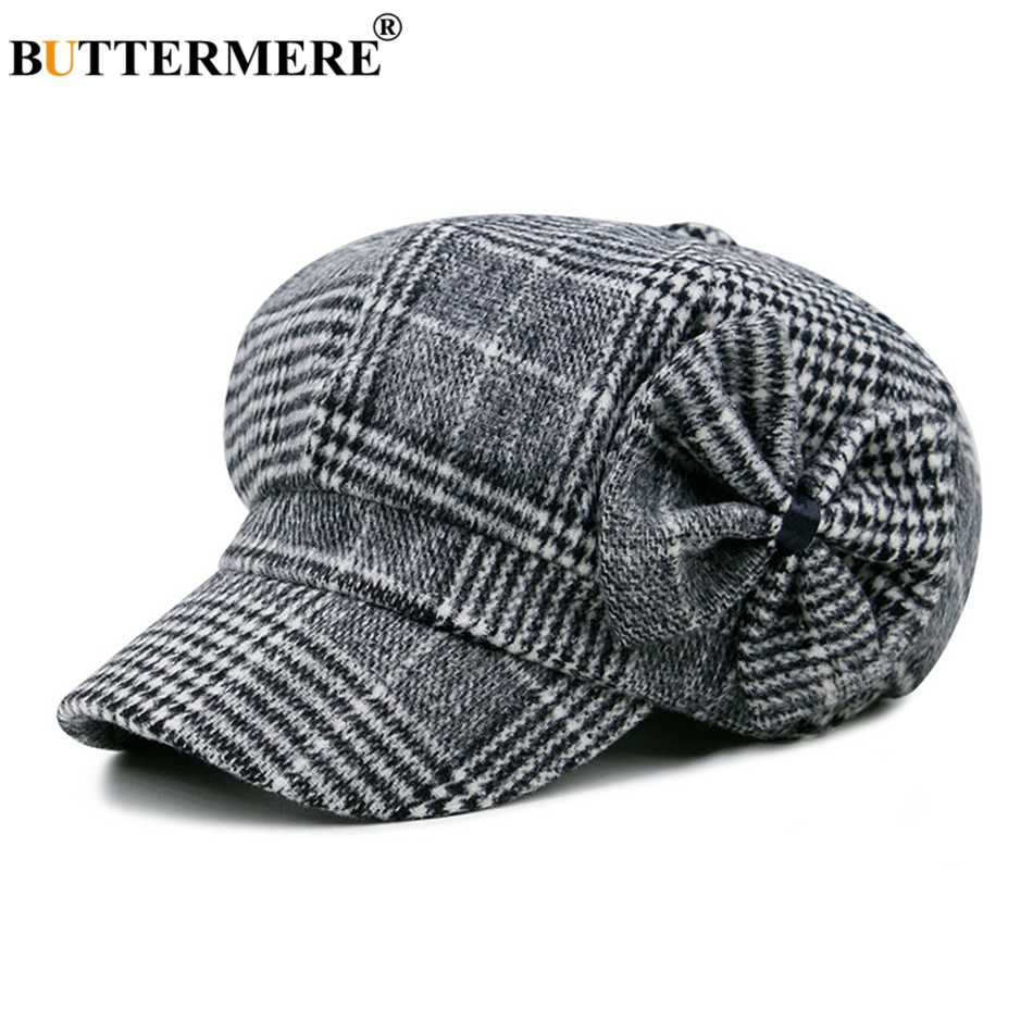 Buttermere Baker Boy Hat Woman Newsboy Caps Bow Tweed England Style Beret Female Hat Herringbone Spring Painter Hats And Caps