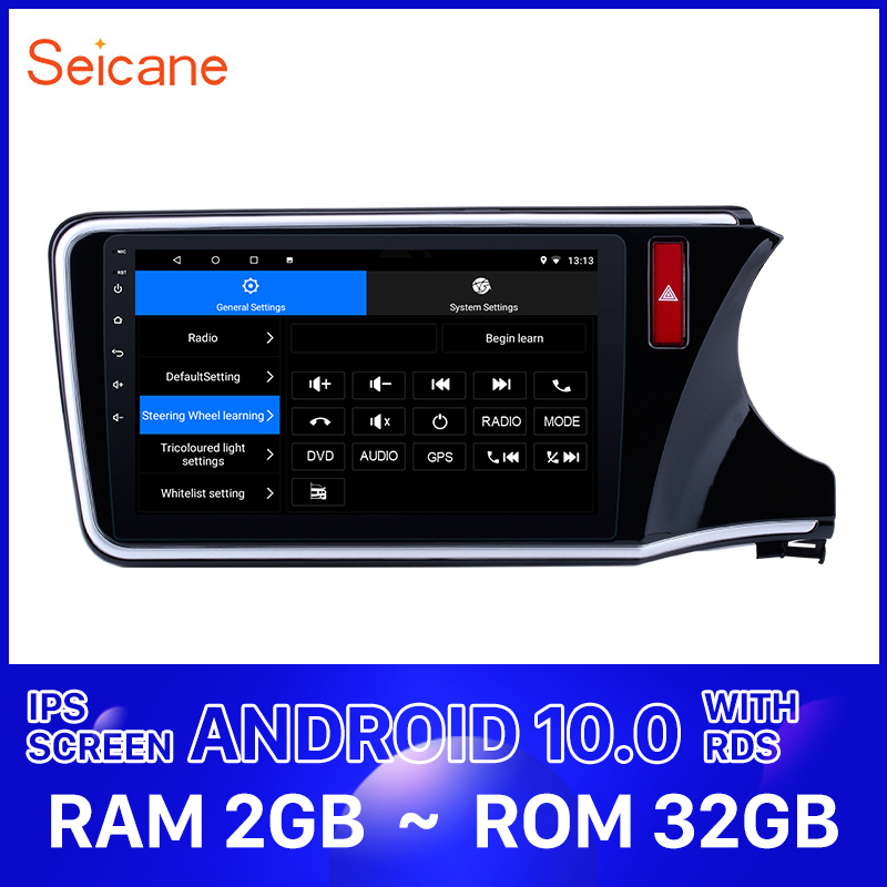 <font><b>Seicane</b></font> 2Din Car Android 10.0 HD Auto Radio Stereo Unit Player For <font><b>HONDA</b></font> <font><b>CITY</b></font> 2014 2015 2016 2017 Right Hand Drive With 2+32GB image