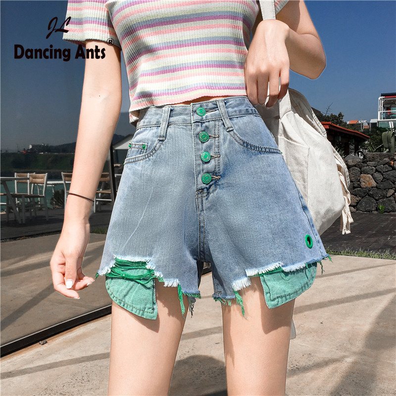2020 Women Shorts Jeans Shorts Feminino Denim Patchwork Leg-openings Plus Size Ripped Sequins Shorts With Pockets Pantalones