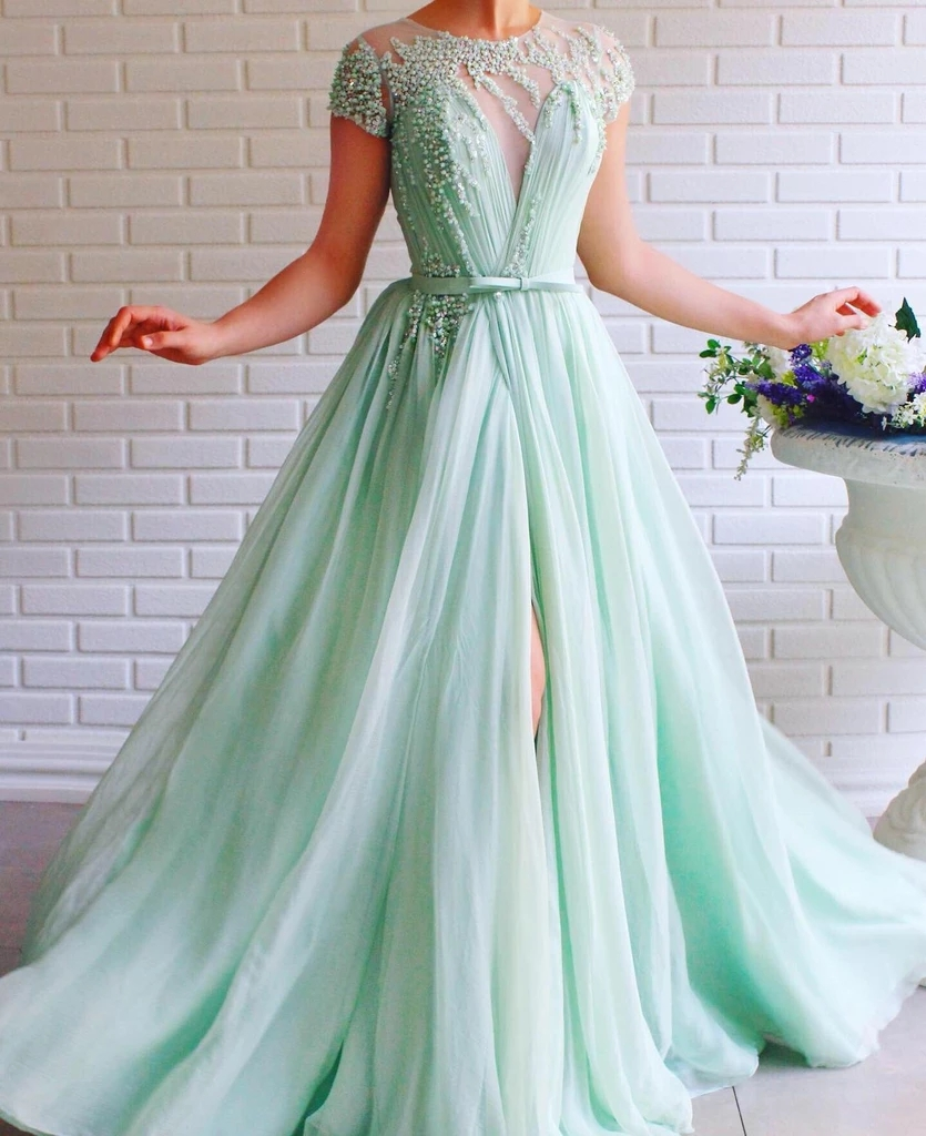 Mint Green Muslim Evening Dresses 2019 A-line Cap Sleeves Chiffon Pearls Islamic Dubai Saudi Arabia Long Formal Evening Gown