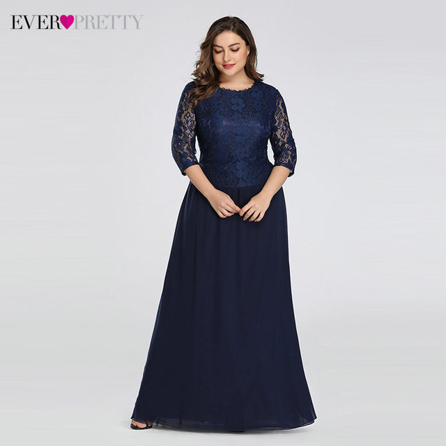 Plus Size Floral Lace Bridesmaid Dresses Ever Pretty A-Line Ruffles Sleeveless O-Neck Layer Elegant Wedding Party Gowns 2020 2
