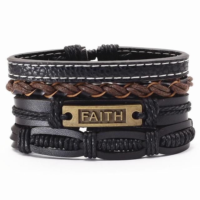 Trust In God Faith Black Guitar Leaf Beads Wristband Leather Bracelets Set Men Bracelets Women Homme Fashion Jewelry Accessories 6