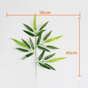 Image 3 - 5pcs סניפים ירוק מלאכותי במבוק עלים משי בד מלאכותי צמחים לחתונה קישוט בית משרד דקורטיבי עלים