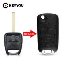 KEYYOUใหม่Flip Folding Remote Key Case 3 ปุ่มสีดำ 3 BTNสำหรับVauxhall Opel Astra Vectra Zafira HU100 ใบมีดจัดส่งฟรี
