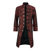 CYSINCOS Mens Retro Tailcoat Goth Long Steampunk Formal Gothic Victorian Frock Retro Medieval costumes Tailcoat Steampunk Jacket