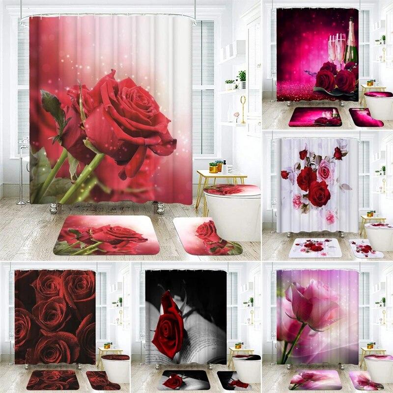 3d red rose shower curtains bathroom curtain set polyester fabric home decor pedestal rug lid toilet cover mat bath carpet sets