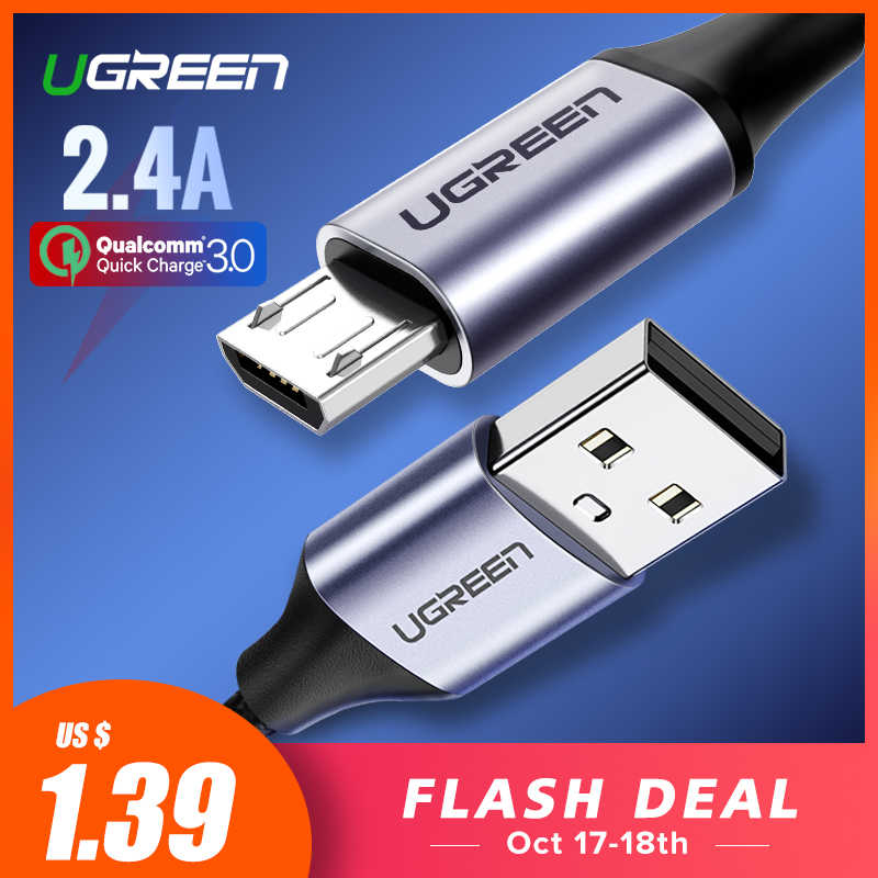 Ugreen Micro USB Kabel 2.4A Nilon Fast Charge USB Kabel Data untuk Samsung Xiaomi LG Tablet Android Ponsel Usb kabel Pengisian