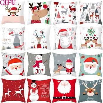 QIFU Christmas Cushion Cover Decorative Pillow Cover Throw Pillow Case Home Decor Sofa Bed Christmas Decor for Home Pillowcase boho pillow case cotton embroidered throw pillow covers decorative cushion cover 45x45cm for sofa bed chair home decor