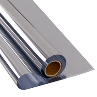 SUNICE 1.52x15m(5ftx50ft)Heat Rejection Solar Control Silver One way Mirror Window Film for Building High rise Buildings Window