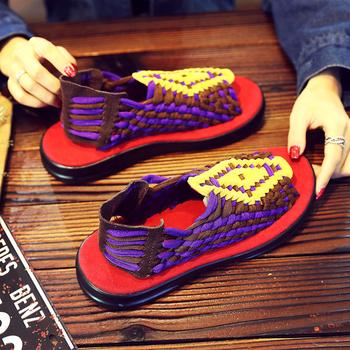 Letnie wygodne wsuwane buty męskie sandały na co dzień fioletowe męskie tkane sandały antypoślizgowe mokasyny na co dzień sandały wsuwane para Sandalias tanie i dobre opinie oein RZYM CN (pochodzenie) Cotton Fabric GLADIATORKI SYNTETYCZNE Mieszkanie (≤1cm) Dobrze pasuje do rozmiaru wybierz swój normalny rozmiar